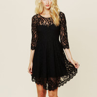 Lace Long Sleeve Pure Color O-neck Irregular Short Dress