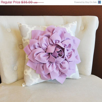 MOTHERS DAY SALE Lilac Dahlia Flower on Neutral Gray Tarika Pillow Accent Pillow Throw Pillow Toss Pillow