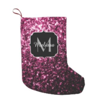 Beautiful Pink glitter sparkles Monogram Small Christmas Stocking by PLdesign