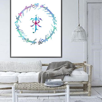 Elvish circle with initials watercolor print Lord Of Rings inspired Poster, Giclee Print, Wall Art Tolkien initials symbol