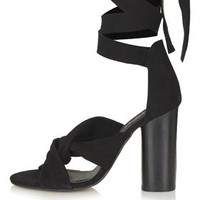 ROSA Suede Knot High Sandals - Black