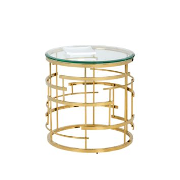 ADDISON END TABLE ROUND GOLD BRASS
