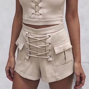 New Fashion lace up type knot show thin pants