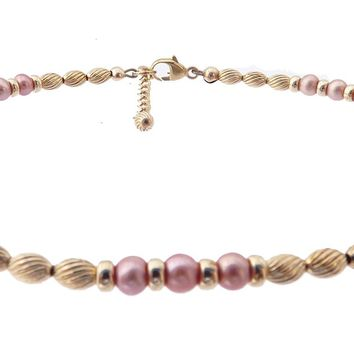14k Gold-Filled Pink Pearl Anklet | Sincerety | Truth | Integrity Ankle Bracelet | Healing Crystals