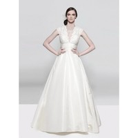 V-Neck A-line Taffeta Lace Bridal Dress - Star Bridal Apparel