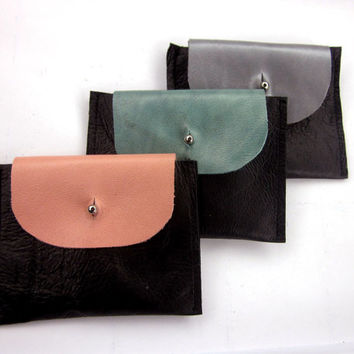 Black Leather Coin Purse, Coin Purse, Pink, Mint, Black Leather, Leather Wallet, Black Wallet, Leather Card Holder, Wallet, Card Wallet