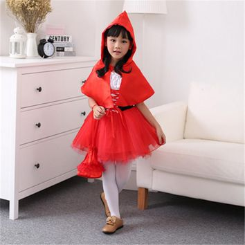 Halloween Kids Bat cosplay Wings Girl Child Cosplay Costume Red Dress Outfit Suit