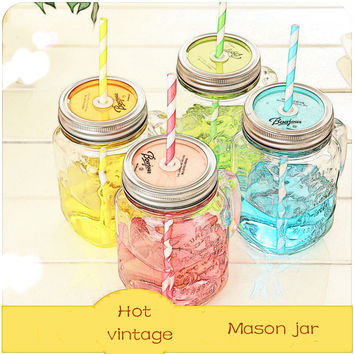 Vintage Glass Mason Jar Cup Fruit Icecream Infusion Clear Gradients Personality Four Style Cold Drink  Cups