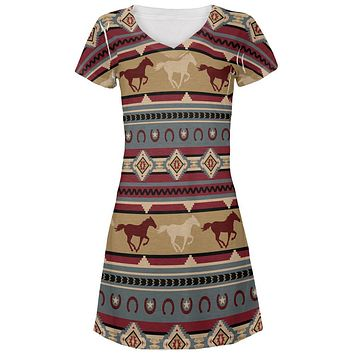 Southwestern Wild Horses Pattern Juniors V-Neck Beach Cover-Up Dress