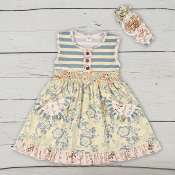 Ruffle Blue Floral Pocket Dress