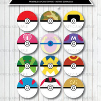 Printable Cupcake Toppers, Pokeball, Pokemon Master, Poke Ball, Ultra Collection, Birthday, Party Decorations, DIY,  INSTANT DOWNLOAD