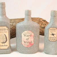 Potion Bottles, Halloween Decoration, Fall Decorations, Stone Painted Bottles