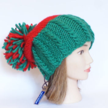 Irish handknit red and green county hat slouchy hats with pompom fun knitted wool hats for adult teenager child chunky yarn