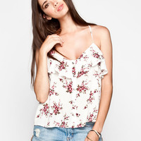 Socialite Floral Ruffle Womens Tank Cream Combo  In Sizes