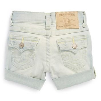 True Religion Brand Jeans 'Jayde' Roll Cuff Boyfriend Shorts (Toddler Girls)