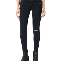 ALLSAINTSMast Knee Destroy Skinny Jeans in Dark Indigo Blue