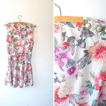 Rose print shift dress / pretty / white / pink / cream / vintage / 1980s / pearl button / zip / gold / pearly / sleeveless summer dress