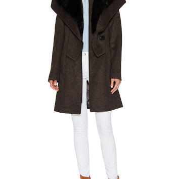 Fei Wool Coat with Faux Fur Trim