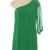 GREEN 3/4 SLEEVE ONE SHOULDER CHIFFON DRESS @ KiwiLook fashion