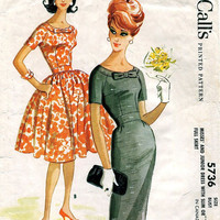 McCall's 5736 Sewing Pattern Retro 60s Rockabilly Style Swing Full Skirt or Wiggle Dress Garden Tea Cocktail Dress Uncut Bust 38