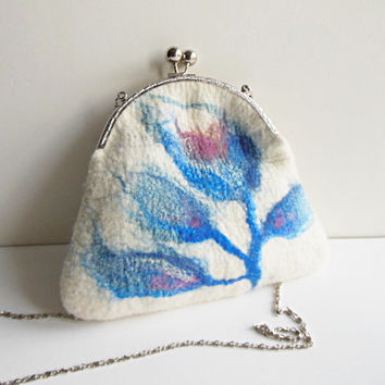 Hand felted purse bag pouch  metal frame purse, wool felted, natural white, flower blue