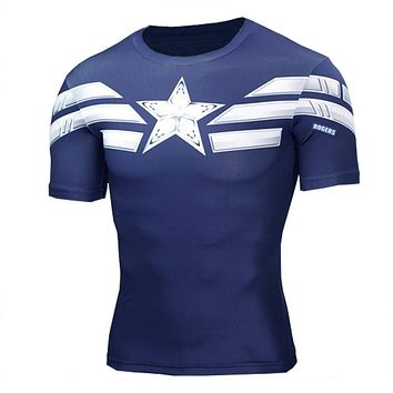 2017 High Quality 3D T Shirt Men Captain America Print Fitness Compression Shirts Cosplay Quick-Drying Crossfit T-Shirt MenTops
