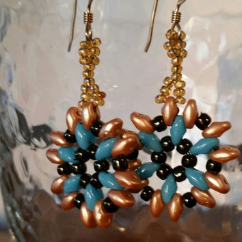 Turquoise blue and matte gold earrings, Sunburst earrings,  Beadwork earrings,  gold and Turquoise blue earrings,  lightweight earrings