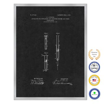 1908 Doctor Syringe Antique Patent Artwork Silver Framed Canvas Home Office Decor Great for Doctor Paramedic Surgeon Hospital Medical Student