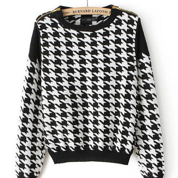 Houndstooth Long Sleeve Knit Sweater