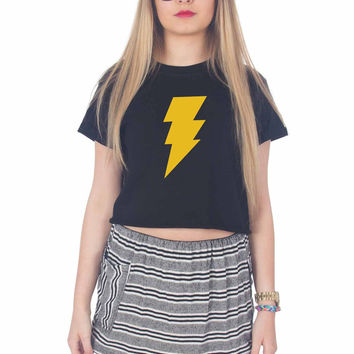 Captain Shazam Superhero Comics For Womens Crop Shirt ***