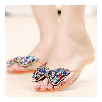 Transparent Jelly Shoes Sandals Chromatic Rhinestone Beads Peep-toe