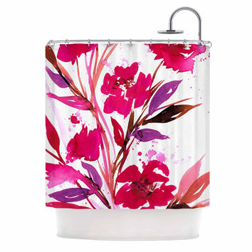 "Ebi Emporium ""Pocket Full Of Posies 11"" Nature Pink Shower Curtain"