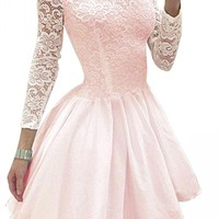 URBANE OUTFITTERS Womens Crew Neck Long Sleeve Lace Plain Mini Skater Evening Dress Pink