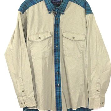 Wrangler USA X-Long Tails Vintage Western Plaid Khaki Button Shirt Mens M 16-34 - Preowned