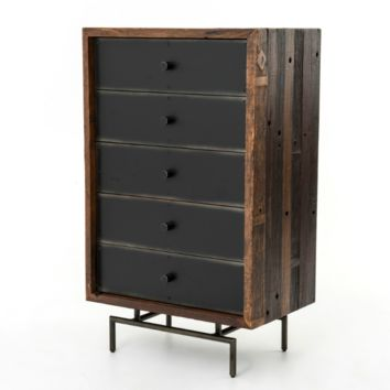 Nash 5 Drawer Highboy Chest - Black With Highlight, Natural Sealers And Wax