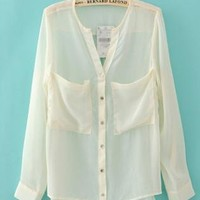 Perspective Pocket Chiffon Shirt White  S000896