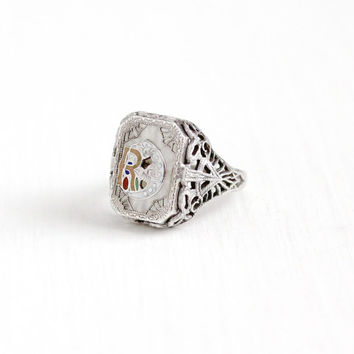 Vintage Art Deco Sterling Silver Daughters of Rebekah Camphor Glass Ring - 1920s Size 5 1/4 Odd Fellows IOOF Filigree Enamel Moon Jewelry