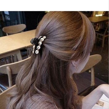 Women Elegant Flower Crystal Hair Clip Rhinestone Hairpin Claw Clamp Headwear