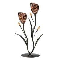 Gifts & Decor Leopard Lily Double Candleholder Centerpiece Home Decor