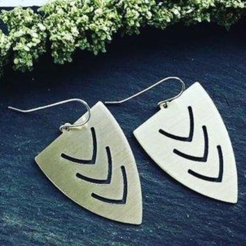 Triangular Shield Brass Earrings