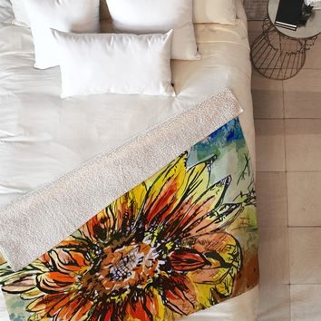 Ginette Fine Art Sunflower Moroccan Eyes Fleece Throw Blanket