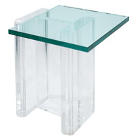 Sculptural Lucite Occasional Table with Glass Top