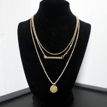Dainty Triple Layered Set -  Gold Bar Necklace - Gold Hammered Disc Necklace