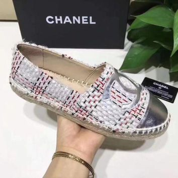Chanel Stylish Women Soft Big Logo Espadrilles Flats Canvas Single Shoes I