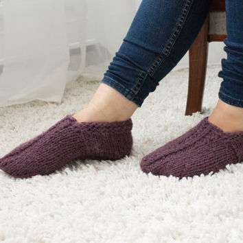 Knit wool Knitted slippers / Knit Socks, wool socks, Handmade Knitted Wool slippers, warm slippers