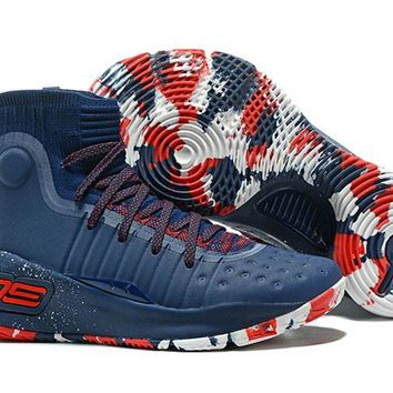 Jacklish Under Armour Curry 4 Navy Blue/red Camo For Sale