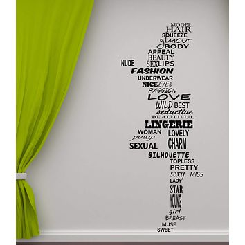 Wall Sticker Vinyl Nude Woman of Words Figure Chest Legs (n957)