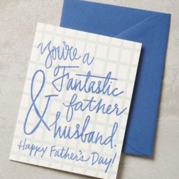 Fantastic Father & Husband Card by Anthropologie in Blue Size: One Size Books