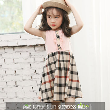 Design vestidos 2016 knee-length summer button sleeveless plaid girls cotton dress baby girl kids clothes 3 4 5 6 7 8 9 10 years