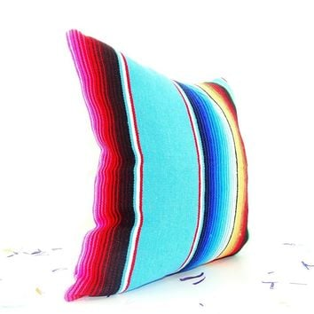 Tribal Pillow Cover 18X18 Inch, Aztec Mexican Cushion, Ethnic Aqua Blue Throw Boho Chic Decor